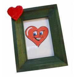 Portafotos verde con corazón