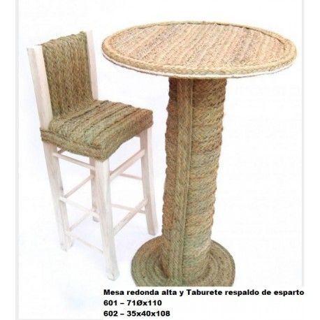 Mesa redonda alta y taburete respaldo de esparto