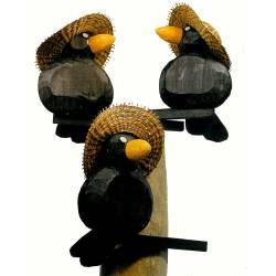 Cuervo con palo y sombrero