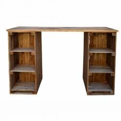 Mostrador madera con estantes