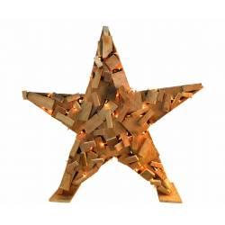 Estrella madera natural con luz