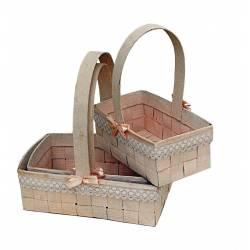 Set de 3 cestas con encaje y lazos