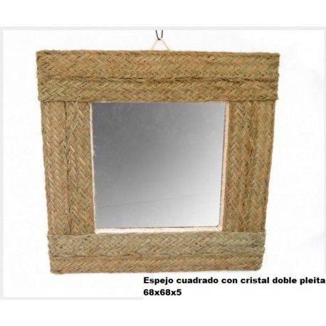 Espejo cuadrado con cristal doble pleita esparto