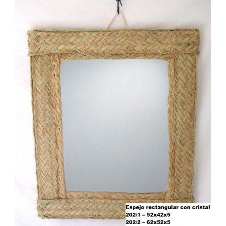 Espejo rectangular con cristal esparto
