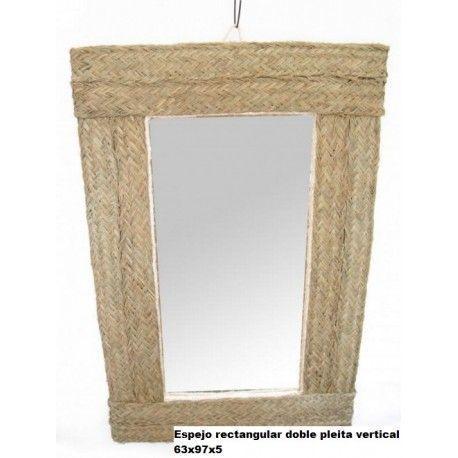 Espejo rectangular doble pleita vertical esparto