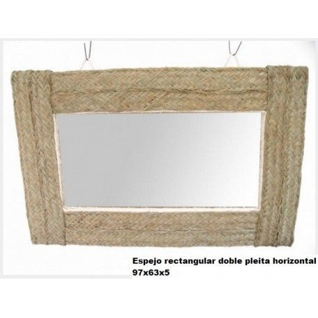 Espejo rectangular doble pleita horizontal esparto