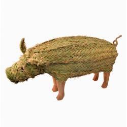 Cerdo esparto y madera