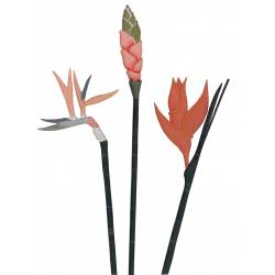 Juego de 3 flores de madera surtidas