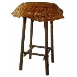 Mesa mimbre rústico y palo de castaño