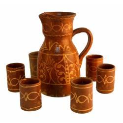 Juego jarra y vasos cerámica