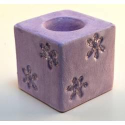 Candelabro malva de cerámica