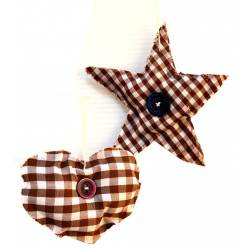 Colgante corazón/estrella marrón