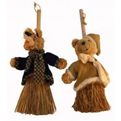 """Set de 2 escobas Navidad """"ratón, oso"""""""