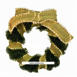 Corona de espumillón con lazo y luces