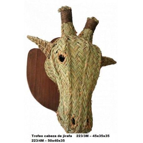 Trofeo cabeza de girafa esparto
