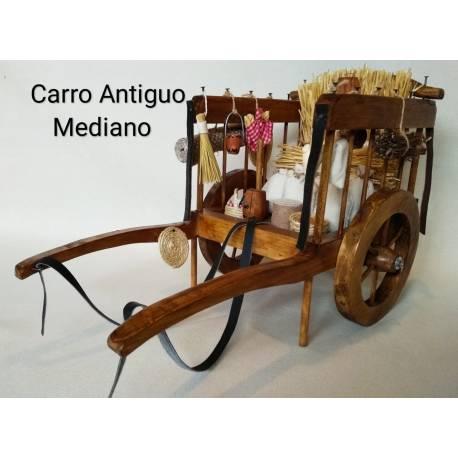 Carro antiguo mediano con sus complementos y una vara