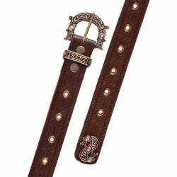1616550500 Cinturon de cuero con estampado celta