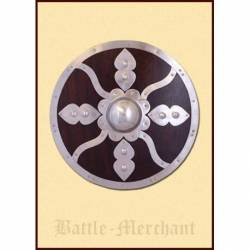 1101064700 Escudo vikingo redondo con accesorios de acero