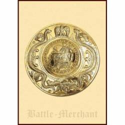 1116675500 Joroba de escudo romano hecho a mano, laton