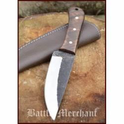 Cuchillo utilitario con empunadura de nuez y vaina de cuero 0369110001