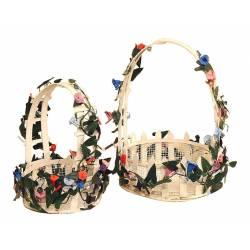 Juego de 2 cestas redondas con flores
