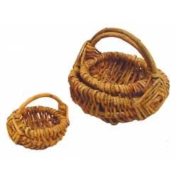 Juego de 3 cestas redondas de mimbre rústico