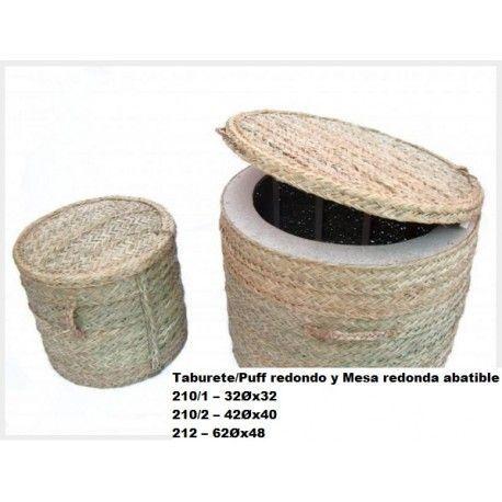 Taburete/Puff redondo y Mesa Redonda abatible esparto