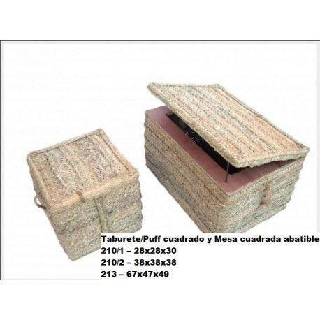 Taburete/Puff cuadrado y Mesa cuadrada abatible