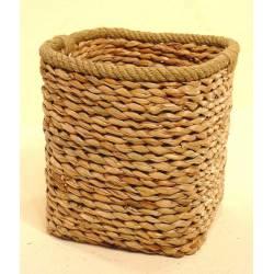 Papelera cuadrada anea y cuerda